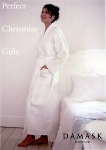 Petula diamond quilted white Jaquard weave cotton robe for ladies by Damask