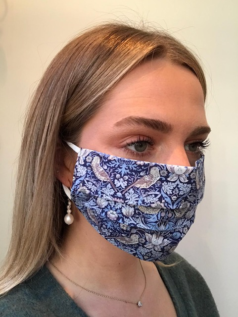 Strawberry Thief Blue Liberty Print Reversible Cotton Face Mask by Damask