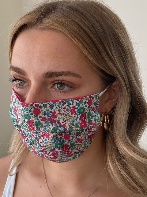 Damask - Reversible Tana Lawn Face Mask - Liberty Fabric - Georgina Pink
