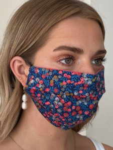 Berry Red Reversible Liberty Print face mask