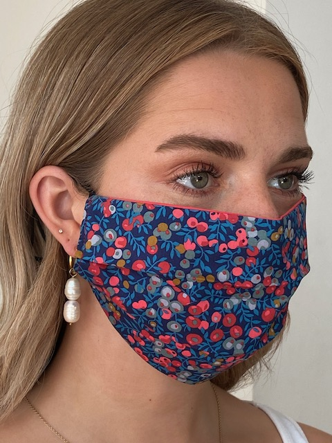 Berry Red Reversible Liberty Print Tana Lawn Cotton Face Mask by Damask