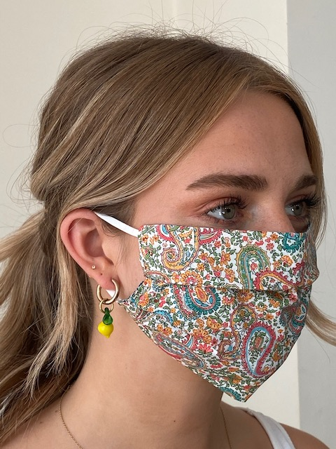 Damask - Reversible Tana Lawn Face Mask - Liberty Fabric - Paisley / Teal