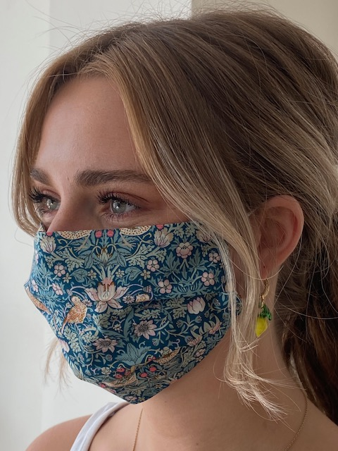 Damask - Reversible Tana Lawn Face Mask - Liberty Fabric - Strawberry Thief Green / Paisley