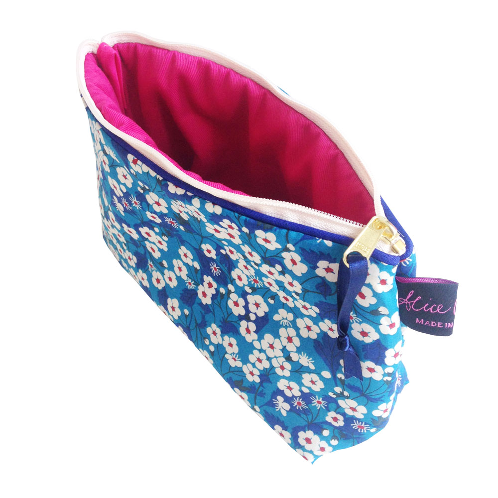 Liberty Print Cosmetic Bag in Mitsi Blue by Damask