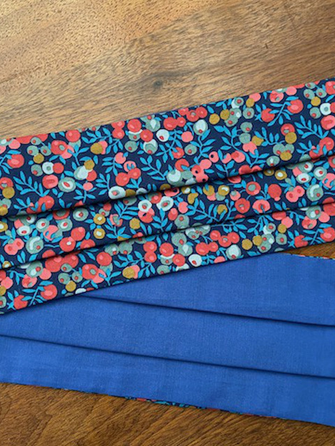Berry Blue Reversible Liberty Print Face Mask by Damask