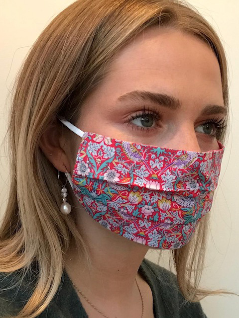 Strawberry Thief Pink Liberty Print Tana Lawn cotton reversible face mask from Damask.co.uk