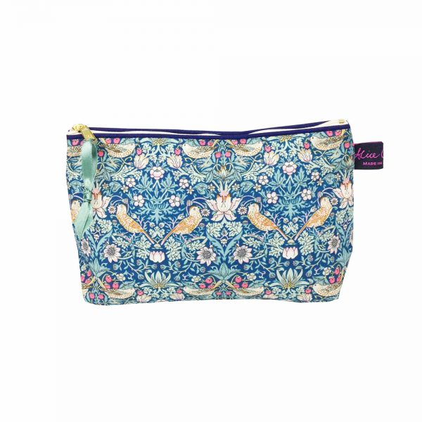 Liberty Print Cosmetic Bag in Strawberry Thief Green from Damask.co.uk